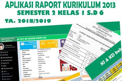 Download Aplikasi Rapor Semester 2 Kurikulum 2013 Rev 2018 Jenjang SD Semua Kelas
