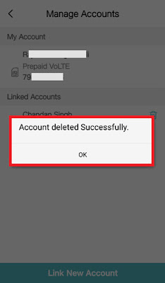 How to remove Jio link account from Jio app