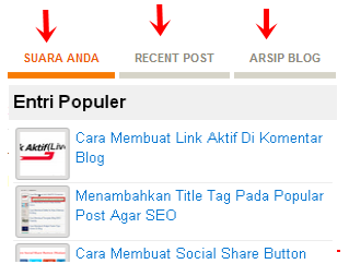 widget multi 3 tab collum blogger di sidebar