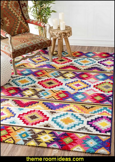 Geometric Soft Southwestern Tribal Diamonds Area Rug