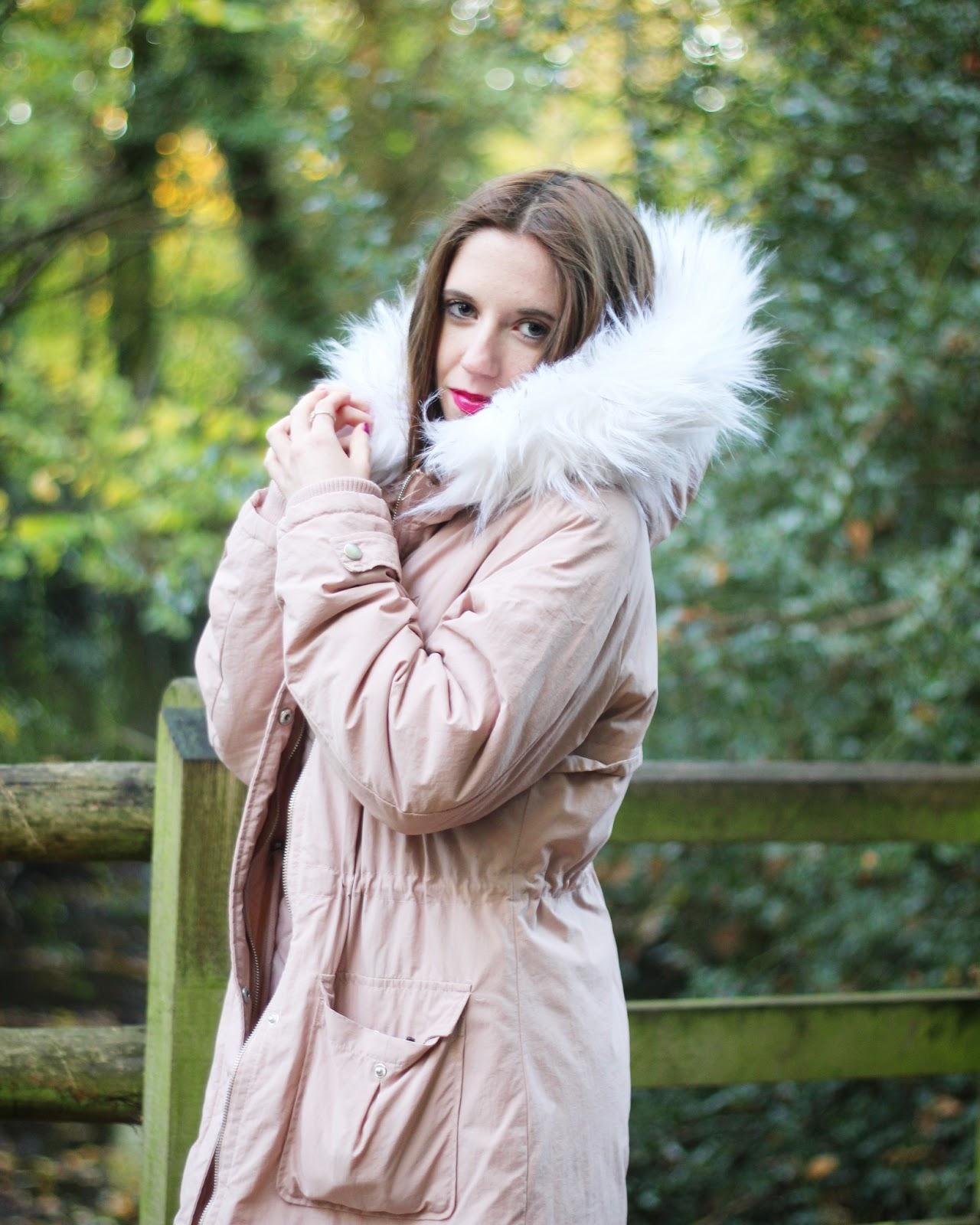 boohoo pink parka coats