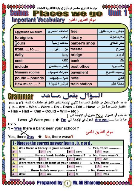 المراجعة النهائية فى اللغة الانجليزية للصف السادس الابتدائى الترم الاول لمستر على الهارونى