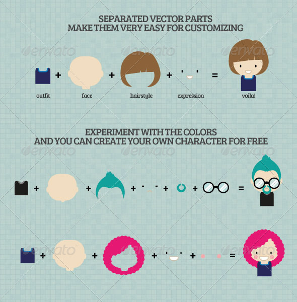 Characters Design Vector Pack by Liaofactory
