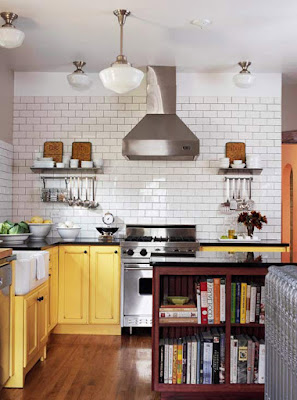 Yellow, White, and Black Small Kitchen Ideas