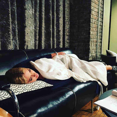 Ashley Benson taking a nap on PLL set