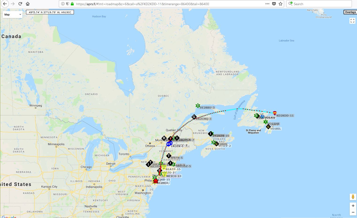 recorded by the us aprs system the european aprs system operates on a different 2 meter frequency so i do not expect to see any additional reports