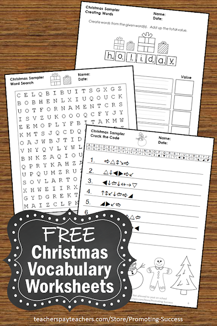 Christmas freebie printable vocabulary worksheets