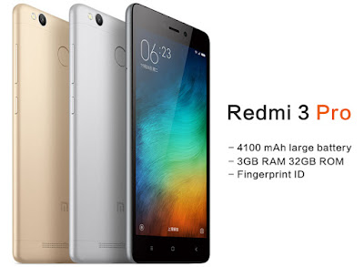 Xiaomi Redmi 3 Pro Specifications - LAUNCH Announced 2016, March DISPLAY Type IPS LCD capacitive touchscreen, 16M colors Size 5.0 inches (~71.1% screen-to-body ratio) Resolution 720 x 1280 pixels (~294 ppi pixel density) Multitouch Yes  - MIUI 7.3 BODY Dimensions 139.3 x 69.6 x 8.5 mm (5.48 x 2.74 x 0.33 in) Weight 144 g (5.08 oz) SIM Dual SIM (Micro-SIM/Nano-SIM, dual stand-by) PLATFORM OS Android OS, v5.1 (Lollipop) CPU Octa-core (4x1.5 GHz Cortex-A53 & 4x1.2 GHz Cortex-A53) Chipset Qualcomm MSM8939v2 Snapdragon 616 GPU Adreno 405 MEMORY Card slot microSD, up to 256 GB (uses SIM 2 slot) Internal 32 GB, 3 GB RAM CAMERA Primary 13 MP, f/2.0, phase detection autofocus, LED flash Secondary 1080p@30fps Features Geo-tagging, touch focus, face/smile detection, HDR, panorama Video 5 MP, f/2.2, 1080p@30fps NETWORK Technology GSM / CDMA / HSPA / EVDO / LTE 2G bands GSM 900 / 1800 / 1900 - SIM 1 & SIM 2   CDMA 800 / 1900 3G bands HSDPA 850 / 900 / 1900 / 2100    TD-SCDMA  CDMA2000 1xEV-DO 4G bands LTE band 1(2100), 3(1800), 7(2600), 38(2600), 39(1900), 40(2300), 41(2500) Speed HSPA, LTE, EV-DO Rev.A 3.1 Mbps GPRS Yes EDGE Yes COMMS WLAN Wi-Fi 802.11 b/g/n, Wi-Fi Direct, hotspot Infrared Port Yes GPS Yes, with A-GPS, GLONASS, BDS USB microUSB v2.0 Radio FM radio Bluetooth v4.1, A2DP FEATURES Sensors Fingerprint, accelerometer, gyro, proximity, compass Messaging SMS(threaded view), MMS, Email, Push Mail, IM Browser HTML5 Java No SOUND Alert types Vibration; MP3, WAV ringtones Loudspeaker Yes 3.5mm jack Yes  - Active noise cancellation with dedicated mic BATTERY  Non-removable Li-Ion 4100 mAh battery Stand-by  Talk time  Music play  MISC Colors Dark Gray, Silver, Gold  - Fast battery charging - DivX/Xvid/MP4/H.264 player - MP3/WAV/eAAC+/FLAC player - Photo/video editor - Document viewer