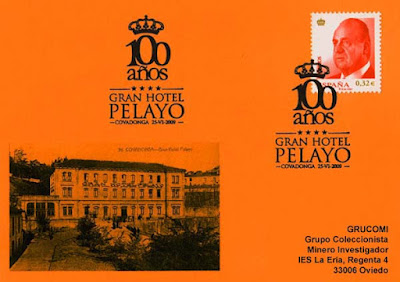 Tarjeta del matasellos del Centenario del Gran Hotel Pelayo de Covadonga
