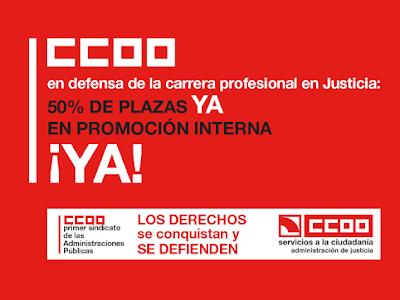 CCOO solicita al Ministerio de Justicia aclaración sobre la presentación al examen de los excluidos en los listados definitivos de promoción interna