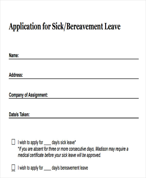 Sample Of Leave Application Form Annual Leave Application Format