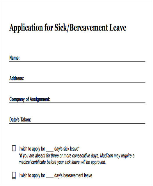 Simple leaves application form template excel template for Sick certificate template