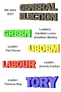 General Election parties, Green, Libdem, Tory, Labour