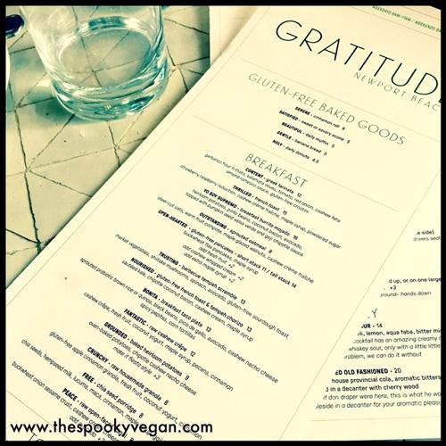 Cafe Gratitude Breakfast Menu