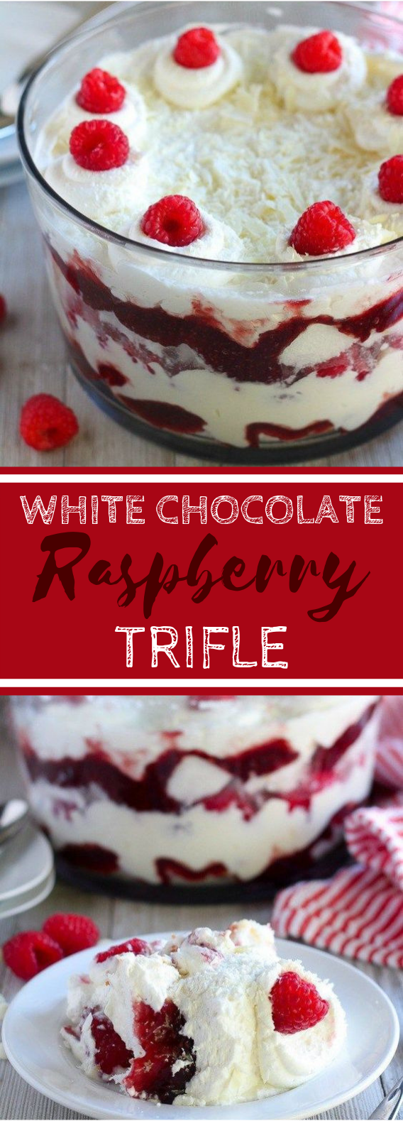 White Chocolate Raspberry Trifle #dessert #chocolate