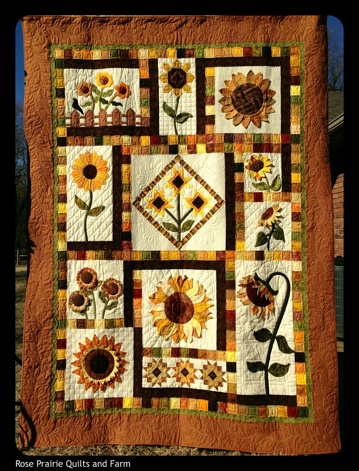 rose prairie quilts and farm my sunflower quilt. Black Bedroom Furniture Sets. Home Design Ideas