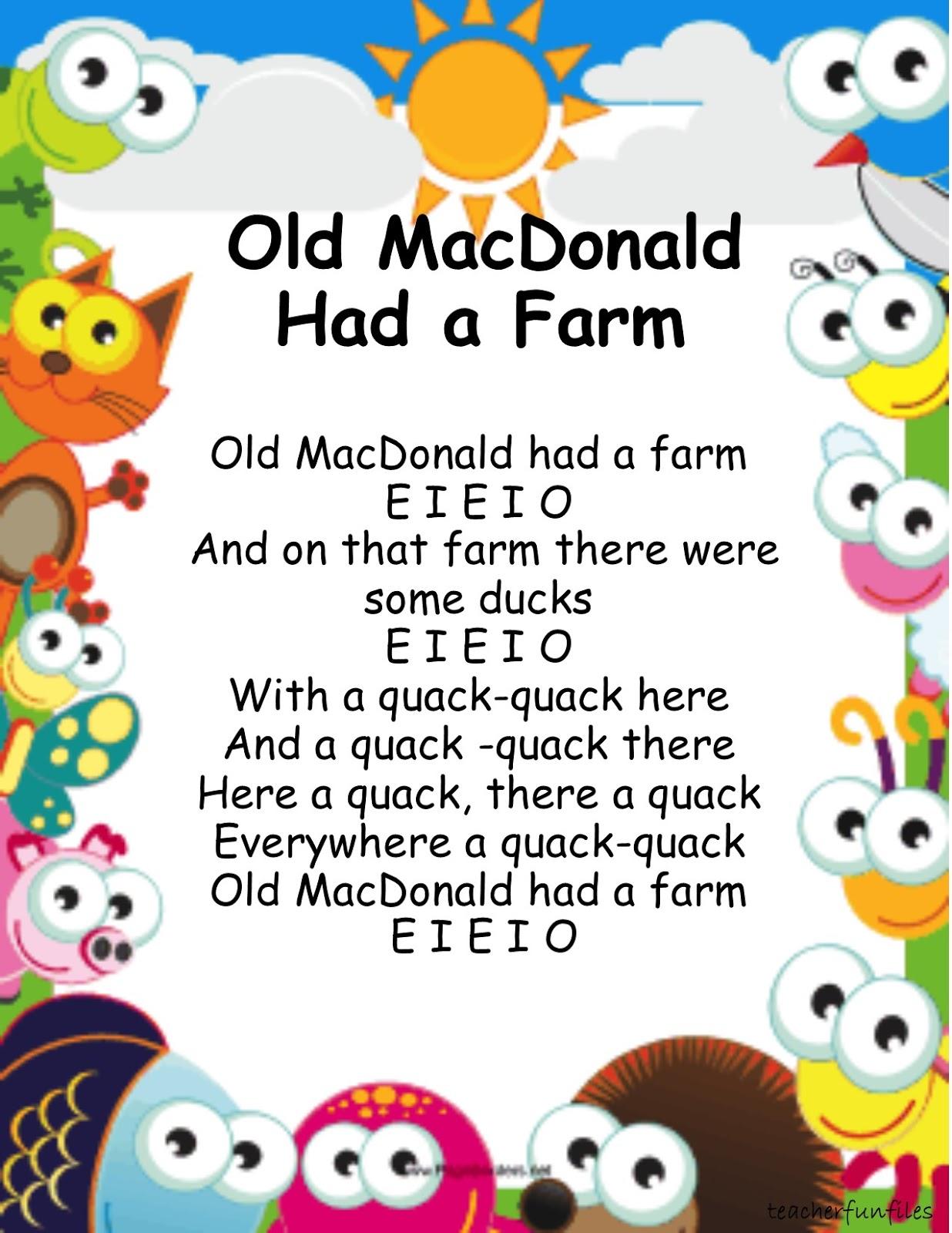 Teacher Fun Files Animal Nursery Rhymes