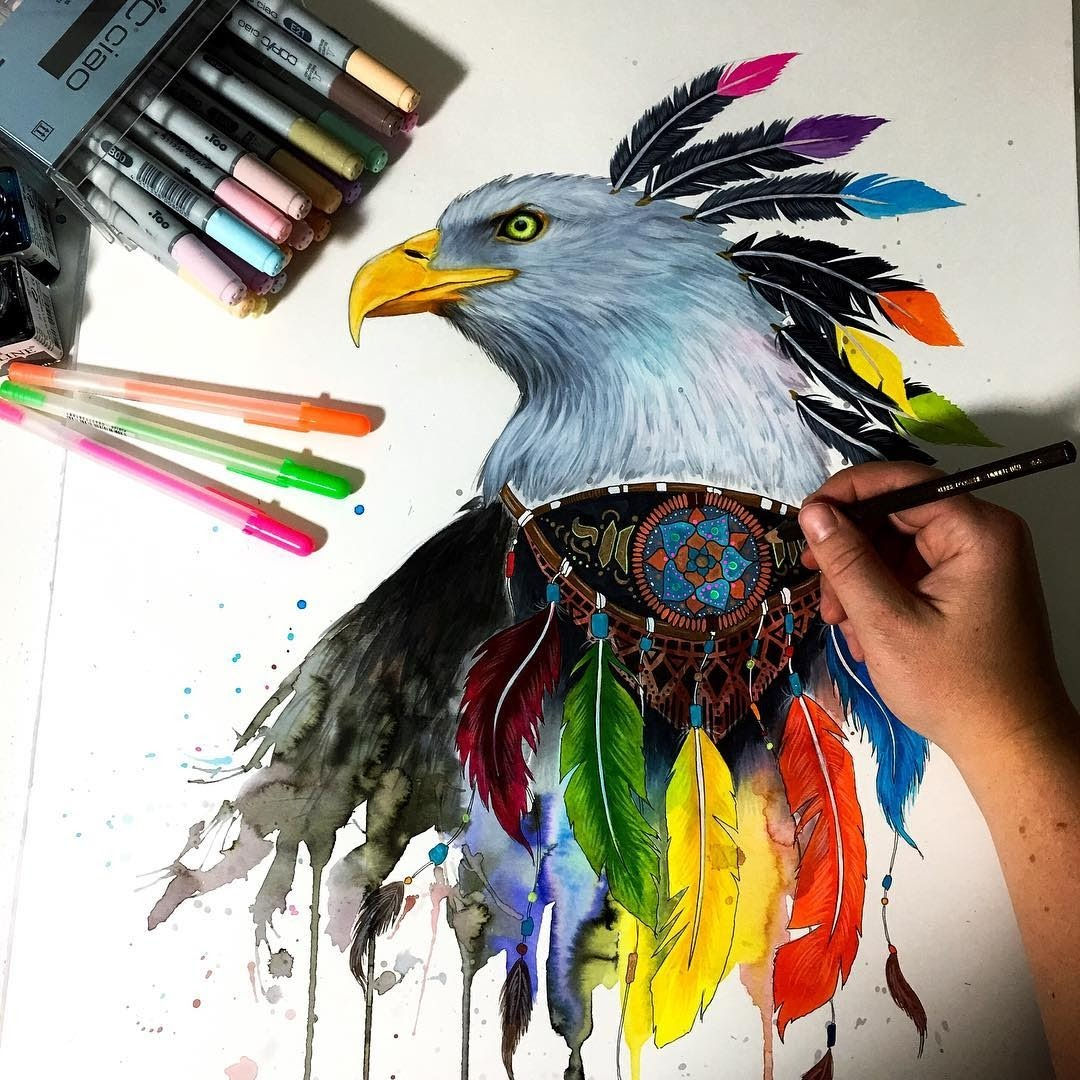 08-Eagle-Pixie-Cold-Fantasy-Animals-in-Different-Style-Drawings-www-designstack-co