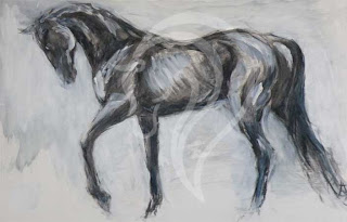 Schooling Study, mixed media painting horse, equine art
