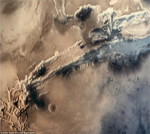 The image of a giant canyon Valles Marineris