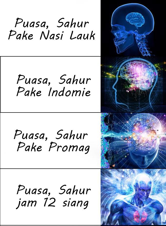 Meme Lucu Brain Expanding  telat sahur