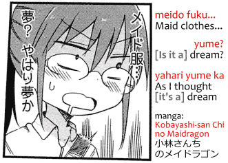 "Example of implicit ""it"" in Japanese, from manga Kobayashi-san Chi no Maidragon 小林さんちのメイドラゴン. Transcript: meido fuku... メイド服… ""Maid clothes..."" Yume? 夢? [Is it a] dream? Yahari yume ka やはり夢か As I thought [it's] a dream."