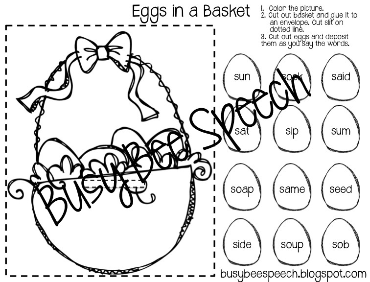 Busy Bee Speech: Easter Worksheets/HW Packet