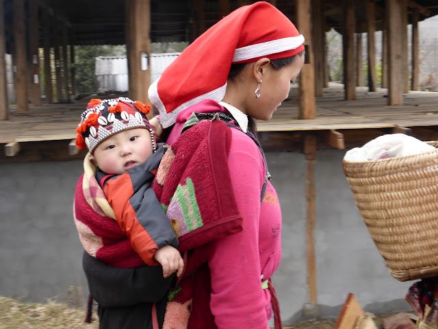 Baby being carried in Sapa Valley Vietnam