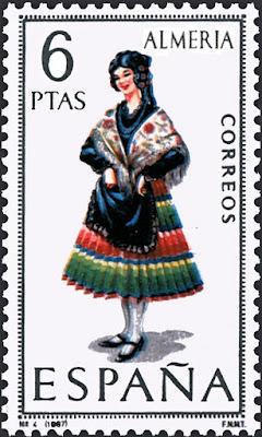 Traje típico de Almería - Edifil 1770 - Fecha de emisión: 17 de abril de 1967