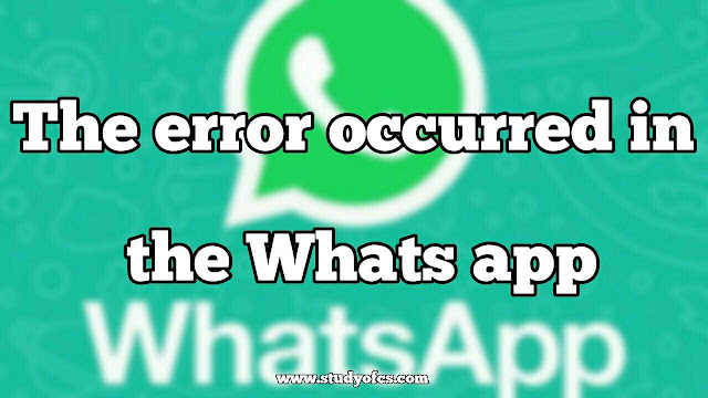 The error occurred in the Whats app