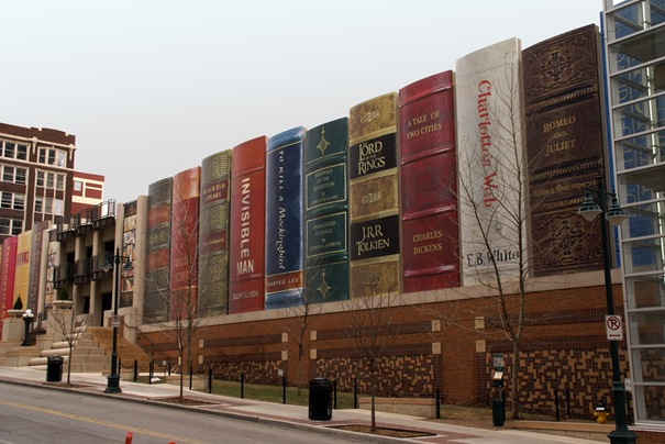 This project, located in the heart of Kansas City, represents one of the pioneer projects behind the revitalization of downtown.  The people of Kansas City were asked to help pick highly influential books that represent Kansas City. Those titles were included as 'bookbindings' in the innovative design of the parking garage exterior, to inspire people to utilize the downtown Central Library.