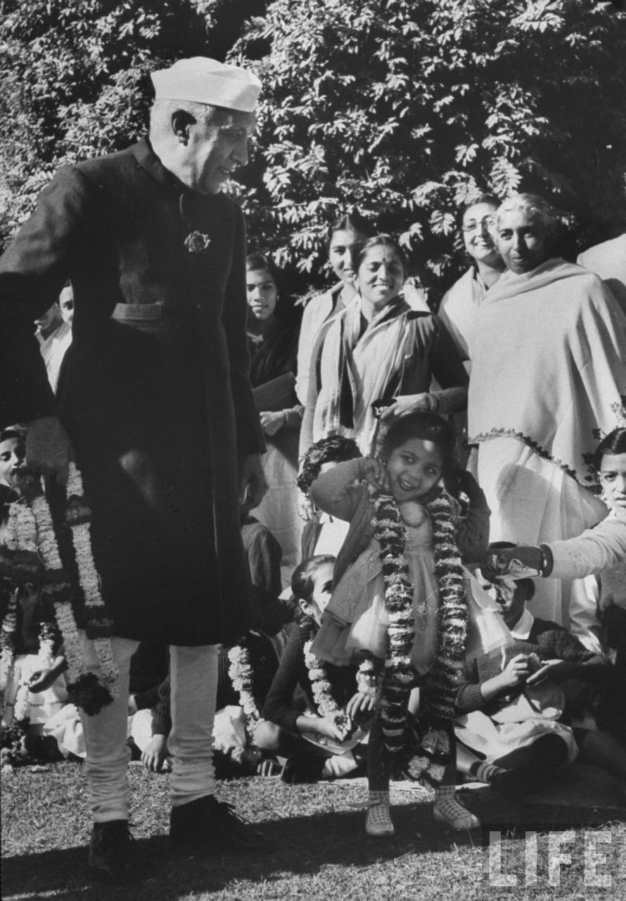Indian Prime Minister Jawaharlal Nehru, meeting people on the grounds of his residence - New Delhi November 1962