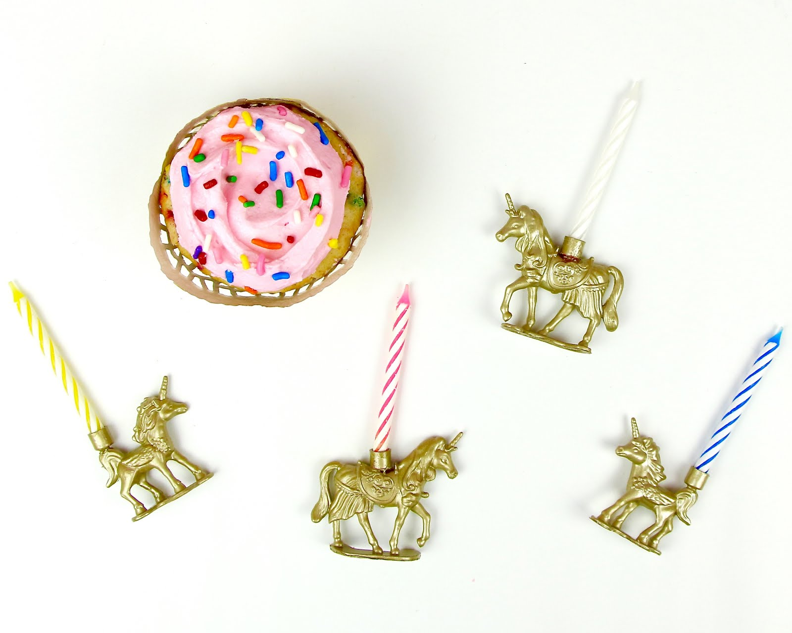 DIY Gold Unicorn Birthday Candle Cupcake Toppers