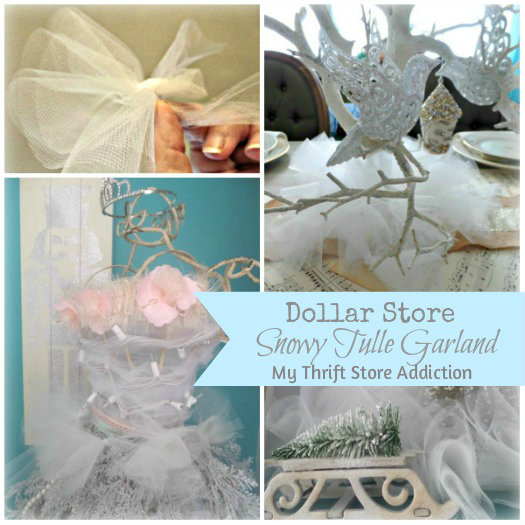 Snowy Tulle Garland mythriftstoreaddiction.blogspot.com How to create snowy garland from dollar store tulle