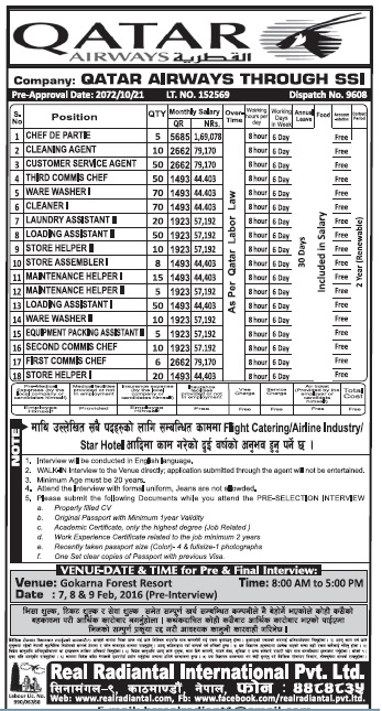 Jobs in Qatar Airways for Nepali, Salary Rs 1,69,078