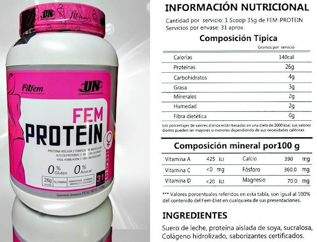Fem protein engorda info nutricional calorías