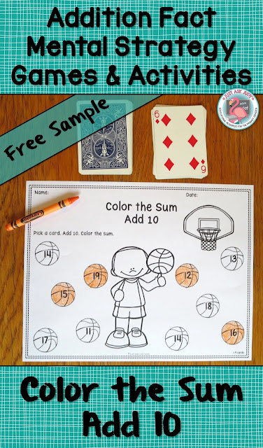 Color the Sum- Add 10, a free sample game for partners or small groups, is ideal for first and second graders who are developing fluency with addition fact strategies.