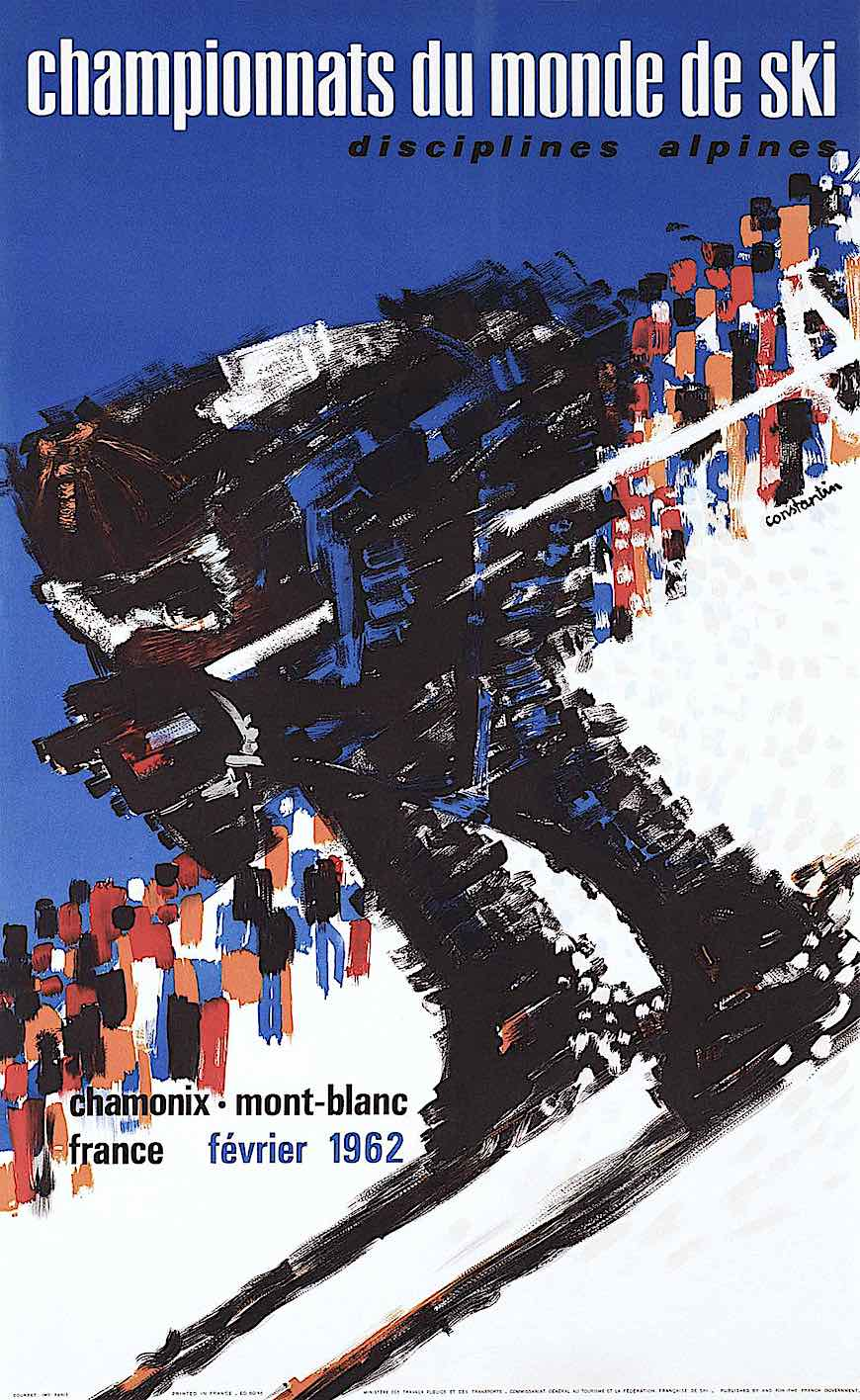 a Constantin Cromieres 1962 poster for a ski competition, Championnats du monde, a fast blur