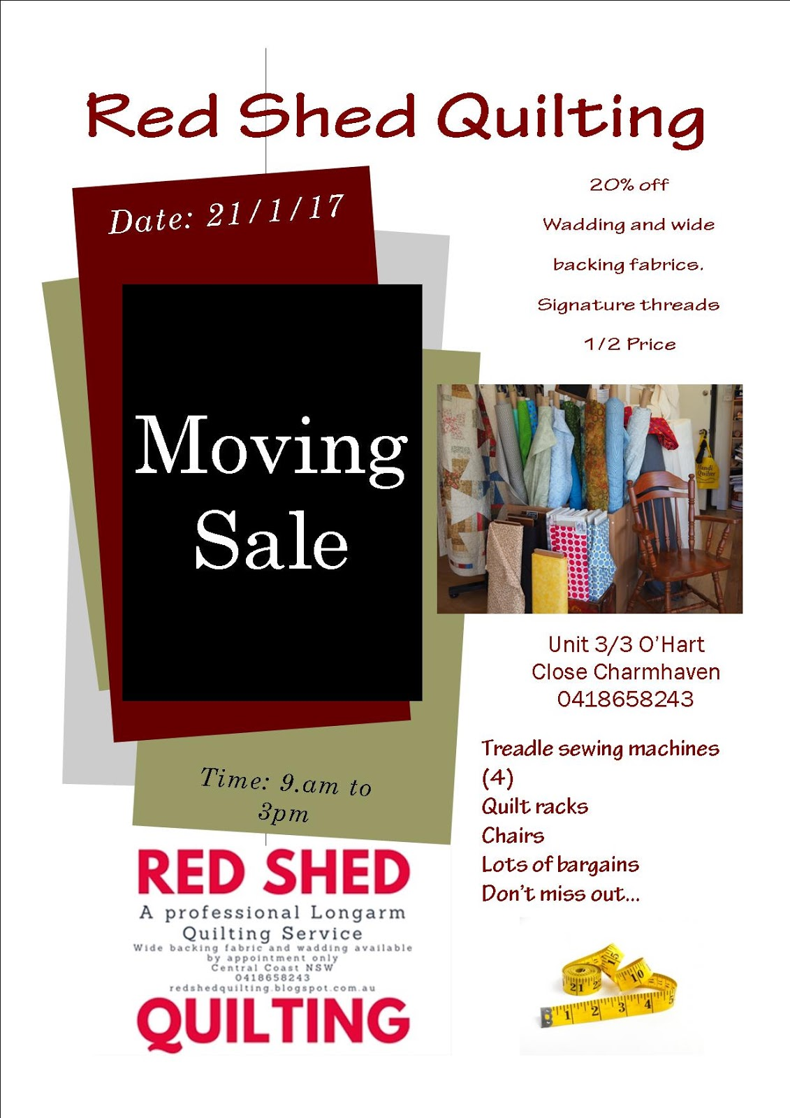 Moving+sale.jpg : red shed quilting - Adamdwight.com