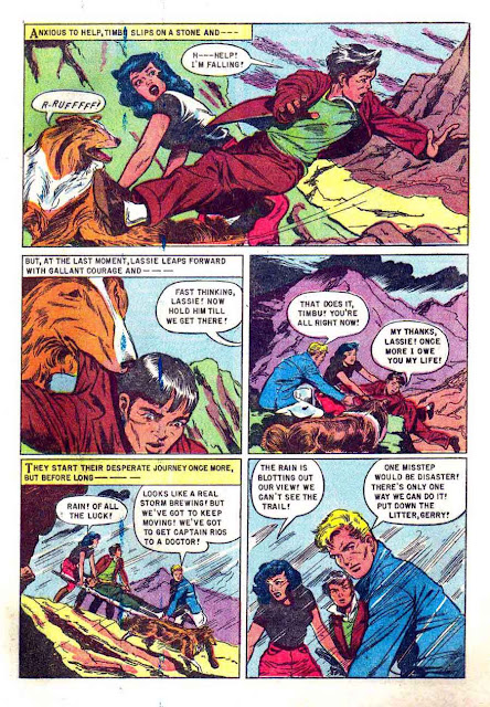 Lassie v1 #20 dell 1950s tv comic book page art by Matt Baker