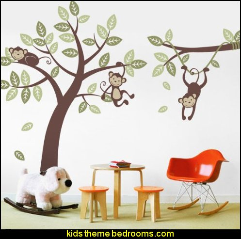 Monkey Tree and Branch Vine- Baby Nursery Vinyl Wall Decals