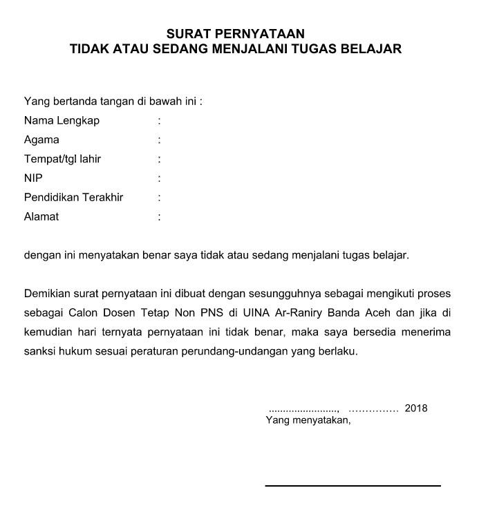 Contoh Surat Pernyataan Tidak Sedang Menjalani Tugas Belajar