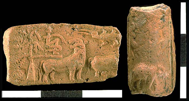 Harappa terracotta tablet H2001-5075, showing a person on a tree with a tiger looking back at him