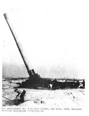 "Large 16"" anti-ship artillery gun on beach of Fort Tilden"