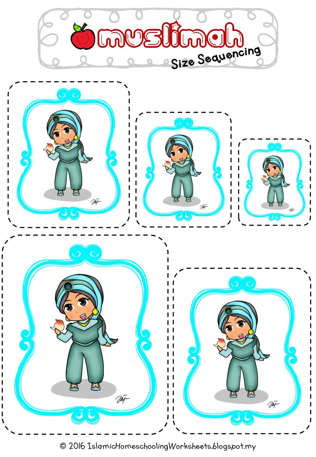 Free Disney Inspired Islamic Size Sequencing Printables