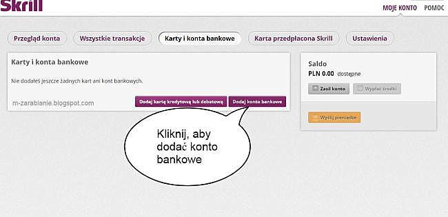 Skriil — dodawanie konta bankowego lub karty