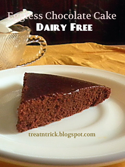 Eggless Chocolate Cake Dairy Free Recipe @ treatntrick.blogspot.com