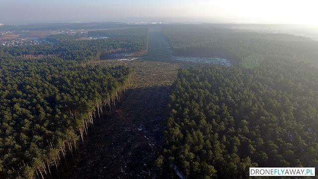 Widok z drona na wycinkę drzew w okolicy wsi Osówiec pod budowę S5
