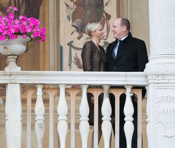Princess Charlene of Monaco attended the procession of the Fête Dieu in the courtyard of the Palais Princier