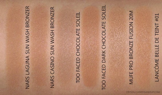 NARS Sun Wash Diffusing Bronzers Laguna Casino Swatches Comparisons Dupes Too Faced MUFE Lancome